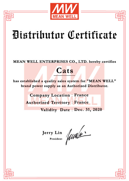 Certificat de distribution Mean Well