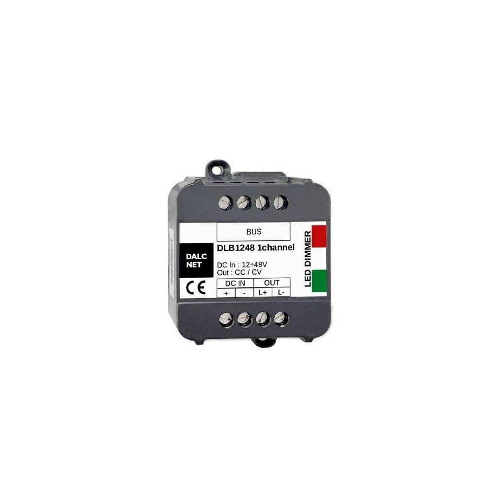 Dalcnet DLB1248-1CC500-DMX DC-DC Constant Voltage (CC) LED Dimmer with Single Channel; Supply Voltage 12-48Vdc; Output at 1x0.5A; Command with DMX and N.O. Push button; IP20