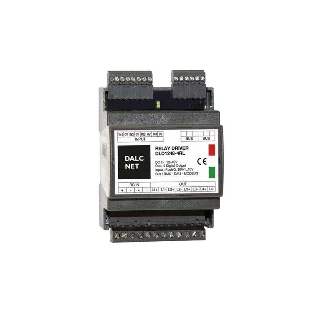 Dalcnet DLD1248-4RL-DMX LED Dimmer with 4 Channel; Supply Voltage 12-48Vdc; Output at 4 x DIGITAL OUT; Command with DMX, 0-10V, 1-10V, Potentiometer and N.O. Push button; IP10
