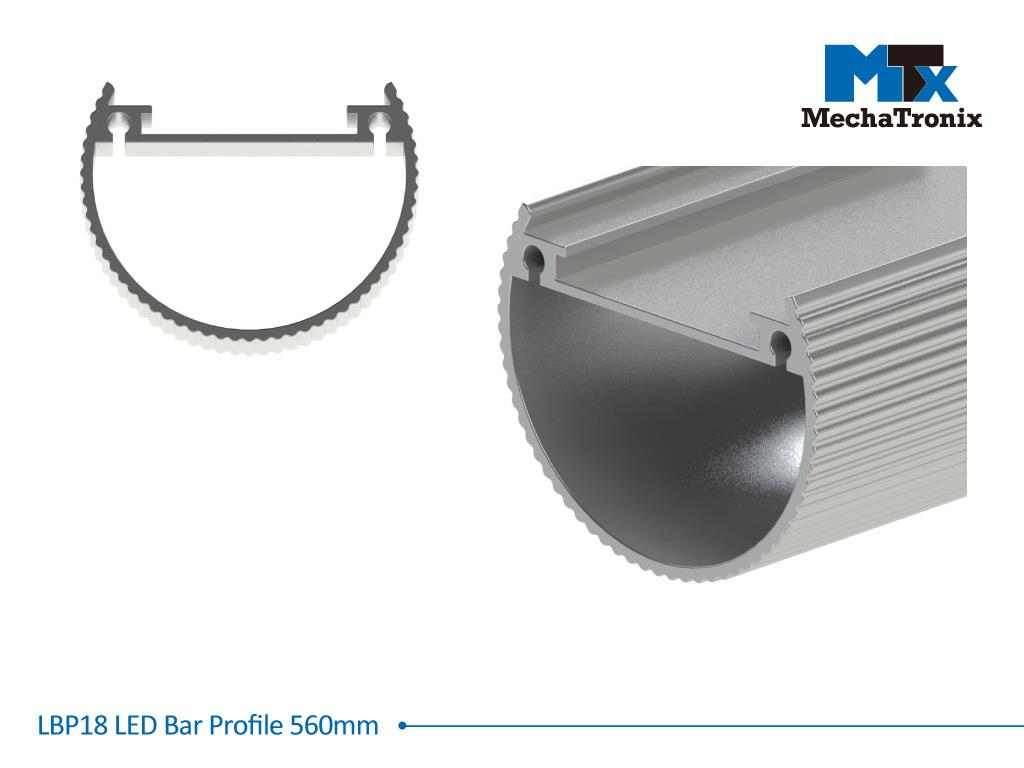 Mechatronix LBP18EXT-560 LED bar profile for LED Strip or PCB in maximum W16mmxH1.6mm; Extrusion profile L560mm