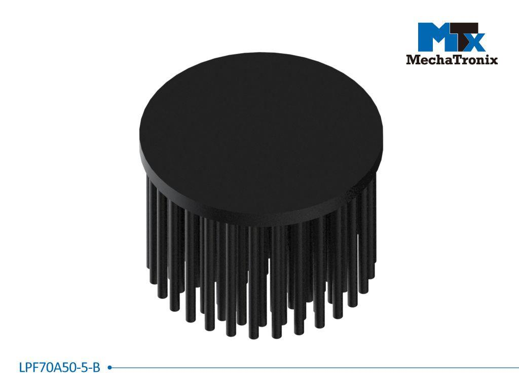 Mechatronix LPF70A50-5-B LED Pin Fin Cooler for spot and downlights from 1,700-3,300 lm; ø70mmxH50mm; Rth 3.0°C/W; 5mm solid base without mounting holes; Black Anodized
