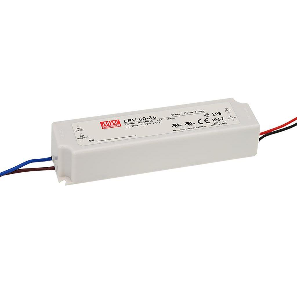 Mean Well LPV-60-12 AC/DC C.V. Box Type - Enclosed 12V 5A Single output LED driver