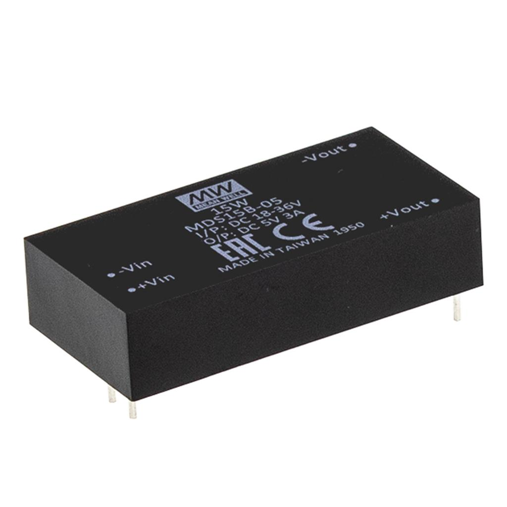 MeanWell MDS15B-05 DC/DC PCB Mount - Through Hole 5V 3A Converter