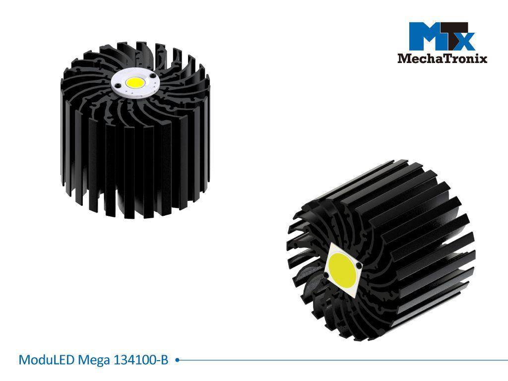 Mechatronix MODULED MEGA 134100-B Modular LED Star Cooler for low and high bay designs from 7,200-14,300 lm; ø134mmxH100mm; Rth 0.67°C/W; Mounting holes for Zhaga book 3 LED module & 36 mounting holes