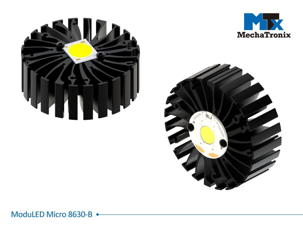 Mechatronix MODULED MICRO 8630-B Modular LED Star Cooler for spot and downlights from 2,700-5,300 lm; ø86mmxH30mm; Rth 1.8°C/W; Mounting holes for Zhaga book 3, 11 LED modules & 30 mounting holes for