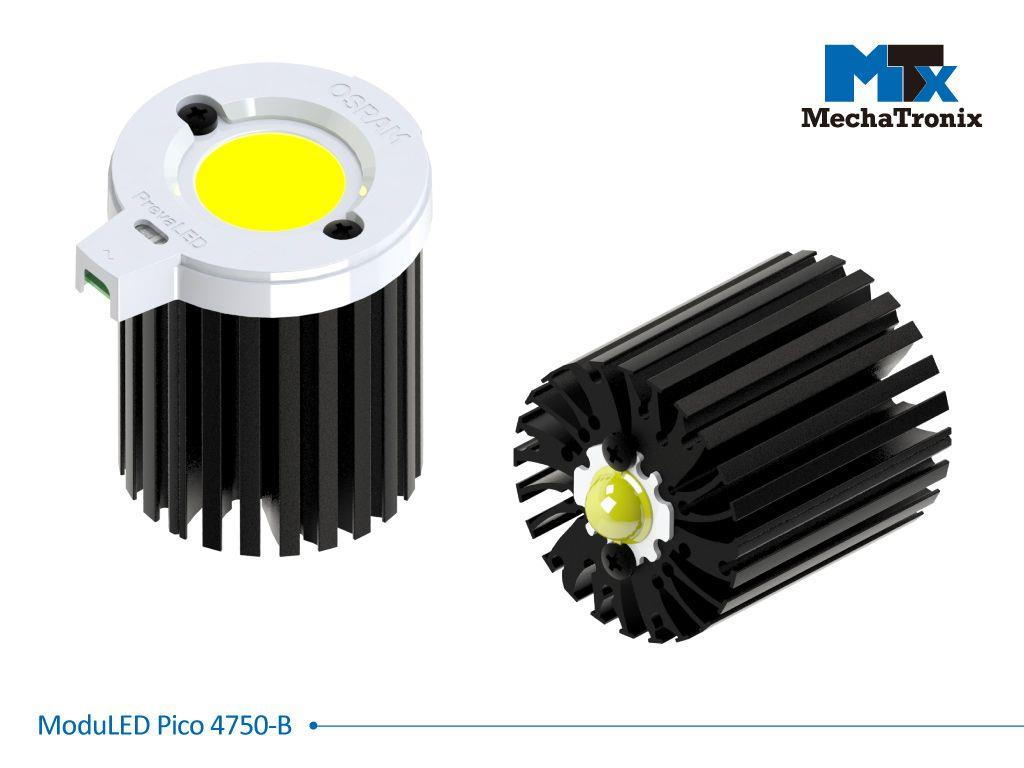 Mechatronix MODULED PICO 4750-B Modular LED Star Cooler for spot and downlights from 900-1,800 lm; ø47mmxH50mm; Rth 5.3°C/W; Mounting holes for Zhaga book 3, 11 LED modules & 20 mounting holes for all