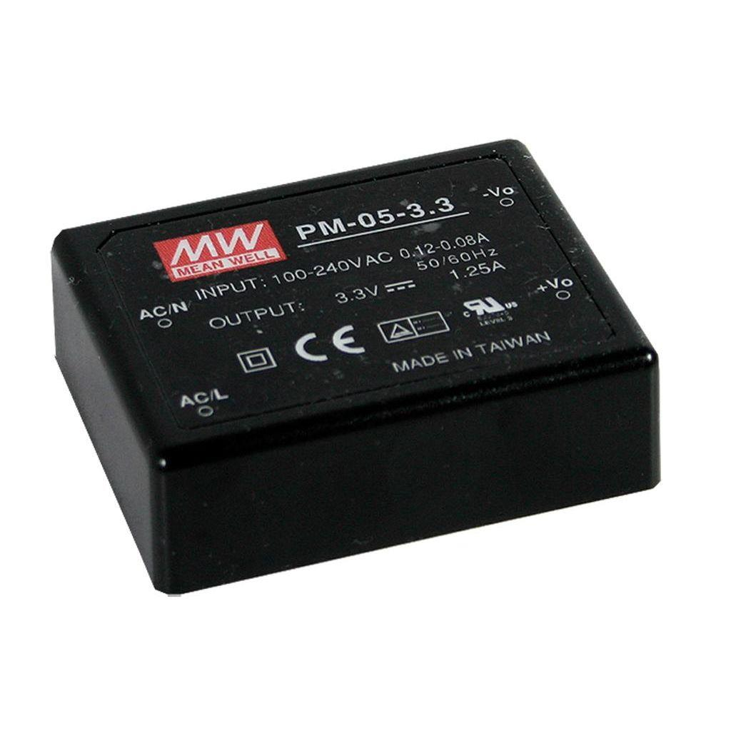Mean Well PM-05-3.3 AC/DC PCB Mount - Through Hole 3.3V 1.25A Medical Encapsulated Power Supply