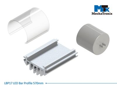 Mechatronix LBP17COV-570 LED bar profile for LED Strip or PCB in maximum W16mmxH1.0mm; Transparent cover; L570mm