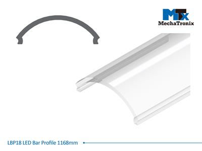 Mechatronix LBP18COV-1168 LED bar profile for LED Strip or PCB in maximum W16mmxH1.0mm; Transparent cover; L1168mm