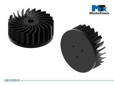 Mechatronix LSB13450-B LED Star Cooler for spot and downlights from 4,100-8,200 lm; ø134mmxH50mm; Rth 1.16°C/W; Black Anodized