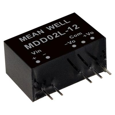 Mean Well MDD02M-12 DC/DC PCB Mount - Through Hole +-12V +-0.083A medical Converter